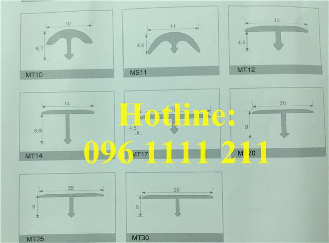 Bản vẽ về kích thước và cấu tạo của nẹp nhôm chữ T